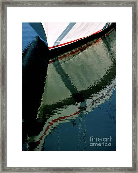White Hull On The Water Framed Print