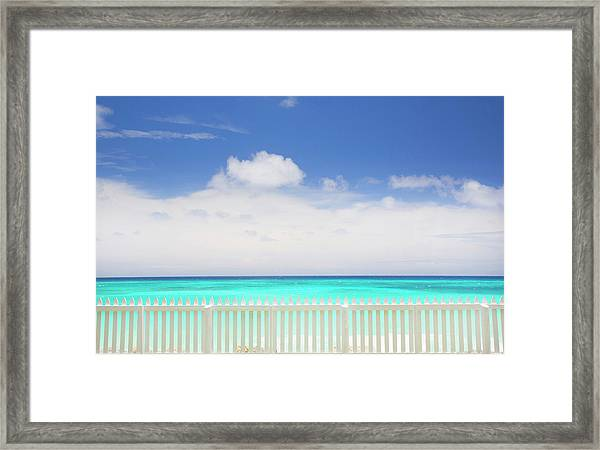 White Picket Fence Near Tropical Beach Framed Print