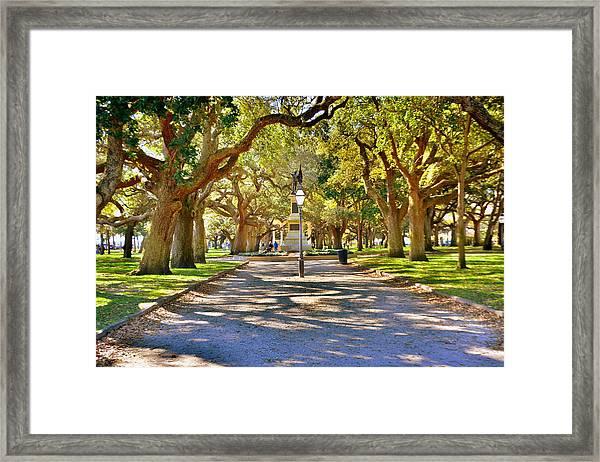 White Point Gardens At Battery Park Charleston Sc Hdr Framed Print