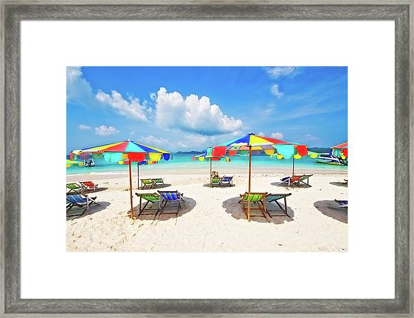 White Sandy Beach With Chairs And Framed Print