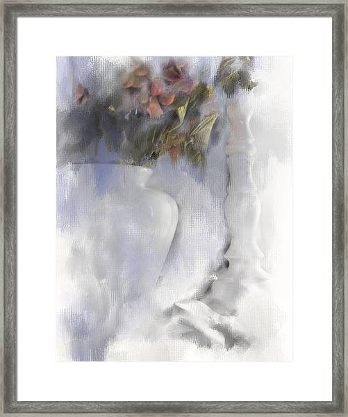 White Still Life Vase And Candlestick Framed Print