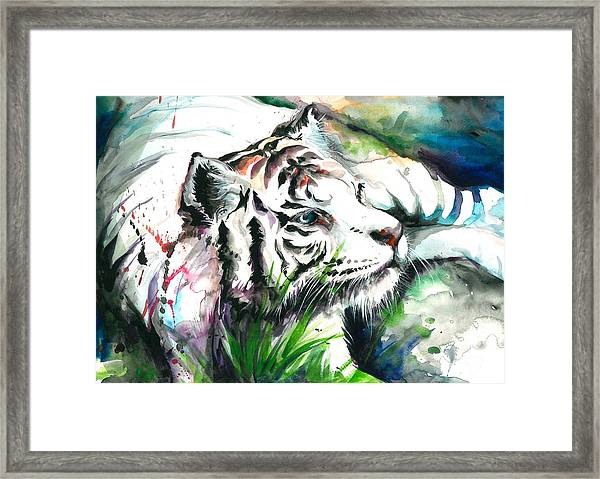 White Tiger Watercolor Art Print Framed Print