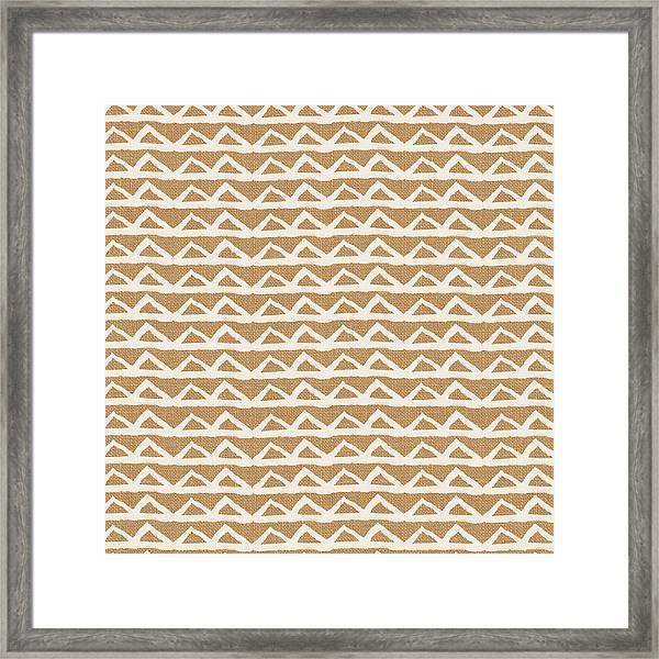 White Triangles On Burlap Framed Print