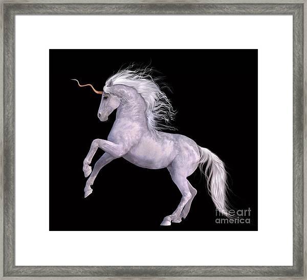 White Unicorn Black Background Half Rear Framed Print