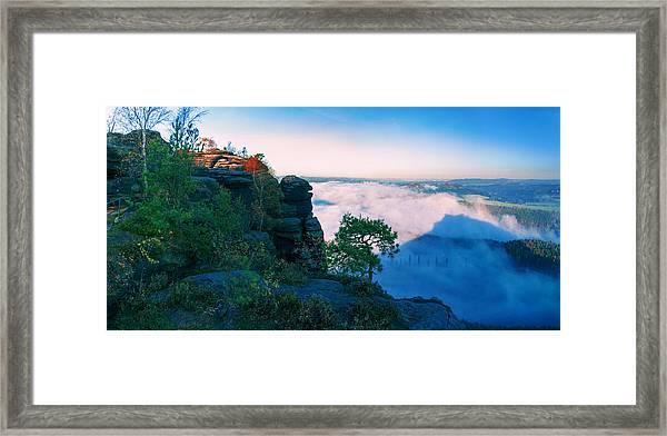 White Wafts Of Mist Around The Lilienstein Framed Print