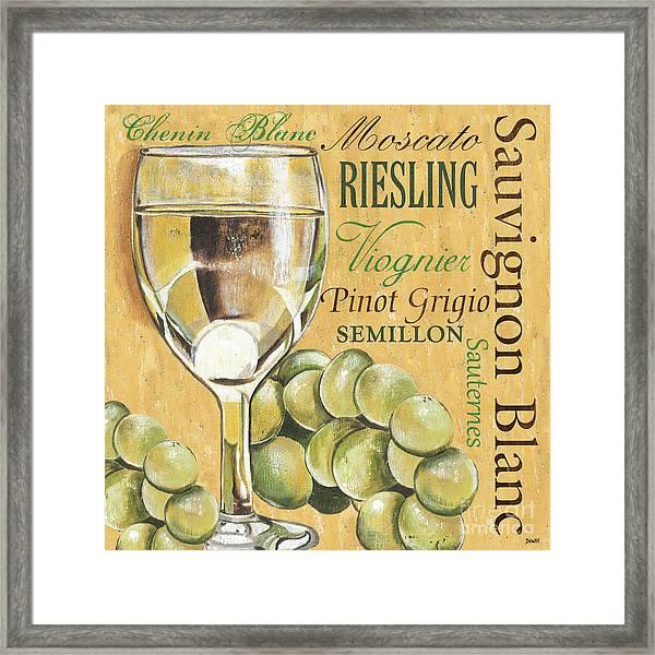 White Wine Text Framed Print