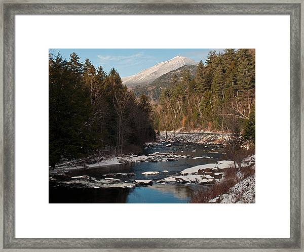Whiteface Mountain At Monument Falls Framed Print