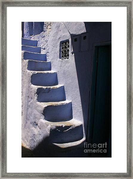 Whitewashed Steps In The Medina Of Asilah On Northwest Tip Of Atlantic Coast Of Morocco Framed Print by PIXELS  XPOSED Ralph A Ledergerber Photography
