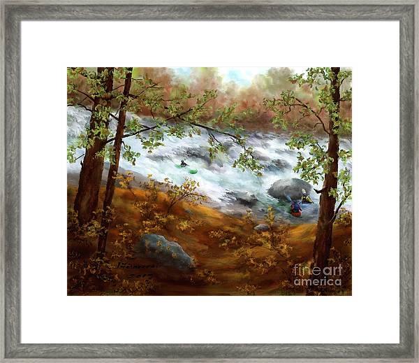 Whitewater Kayaking Framed Print by Judy Filarecki