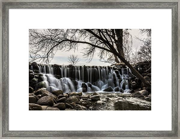 Whitnall Waterfall In Spring Framed Print