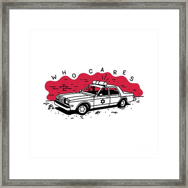 Who Cares Old American Police Car Near Framed Print