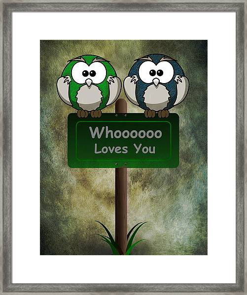 Framed Print featuring the digital art Whoooo Loves You  by David Dehner