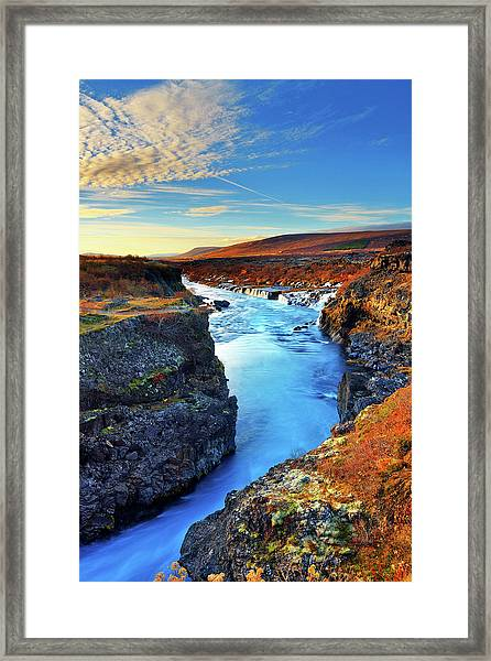 Wide Angle Of Hraunfossar Flowing Into Framed Print