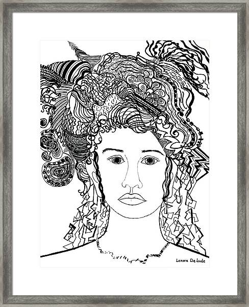 Wild Hair Portrait In Shapes And Lines Framed Print