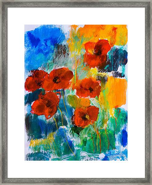 Framed Print featuring the painting Wild Poppies by Elise Palmigiani