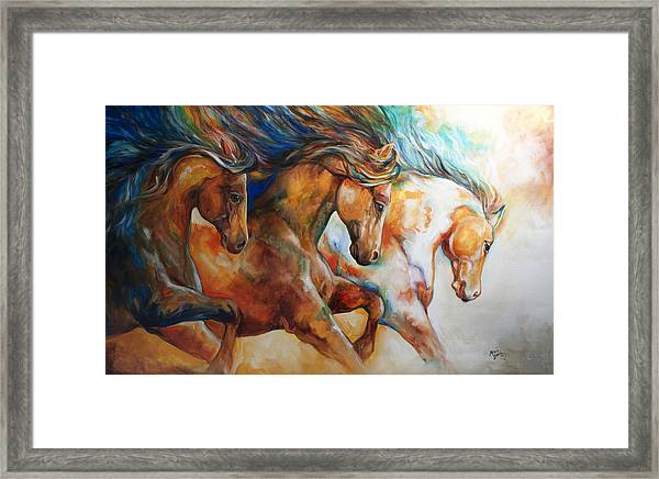 Wild Trio Run Framed Print