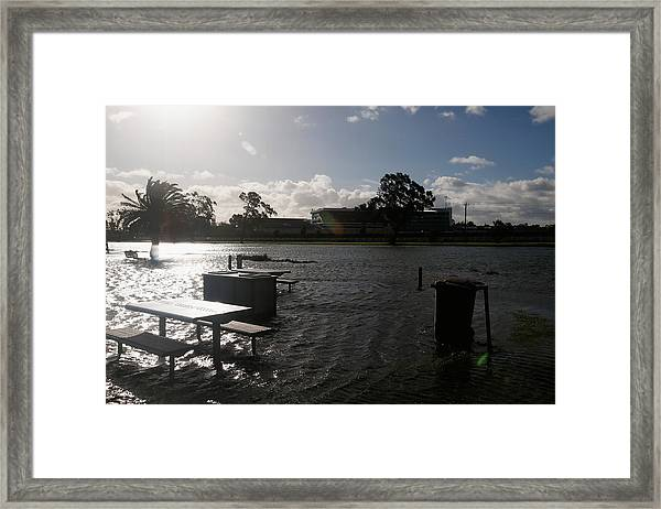 Wild Weather Causes Flooding In Melbourne Cbd Framed Print by Darrian Traynor