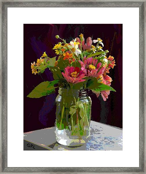 Framed Print featuring the painting Wildflowers And Zinnias In A Jar  Contemporary Digital Art by G Linsenmayer