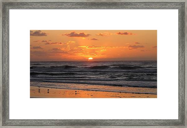 Framed Print featuring the photograph Wildwood Beach Here Comes The Sun by David Dehner