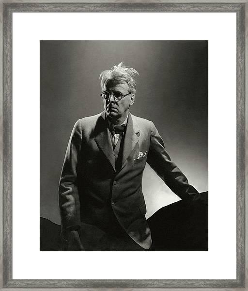 William Butler Yeats Wearing A Three-piece Suit Framed Print by Edward Steichen