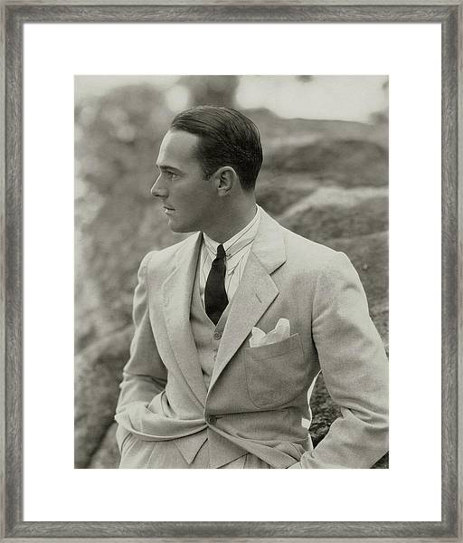 William Haines Wearing A Three-piece Suit Framed Print