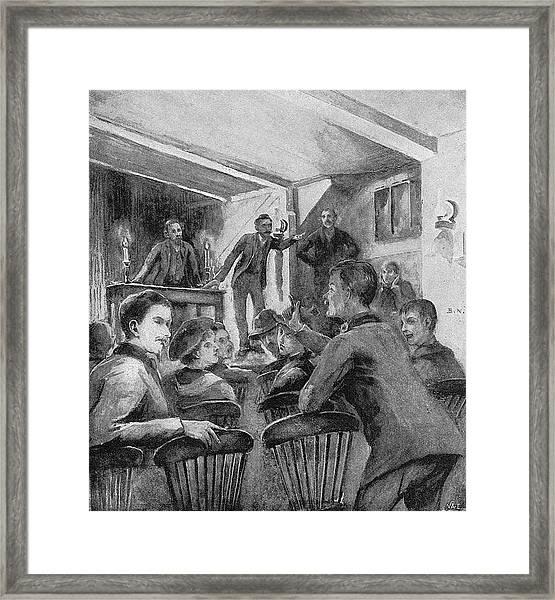 William Morris  Socialist Meeting At Framed Print by Mary Evans Picture Library