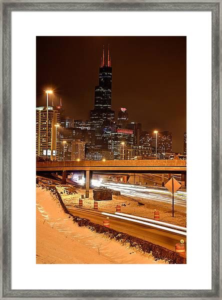Willis Tower Chicago Winter 2014 Framed Print by Michael  Bennett