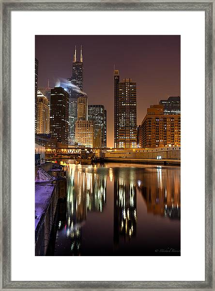 Willis Tower Reflection In Chicago River March 2014 Framed Print by Michael  Bennett