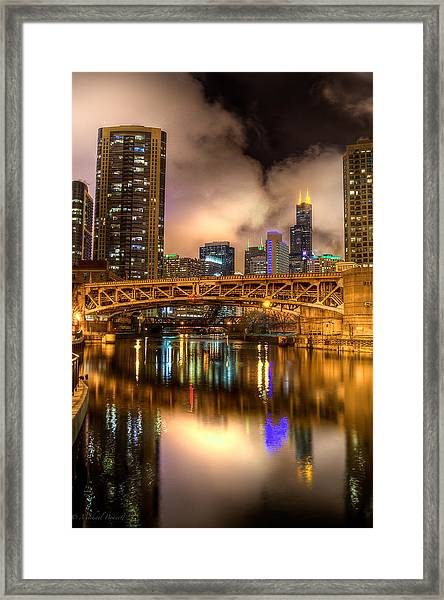 Willis Tower Reflection In Chicago River  Framed Print by Michael  Bennett