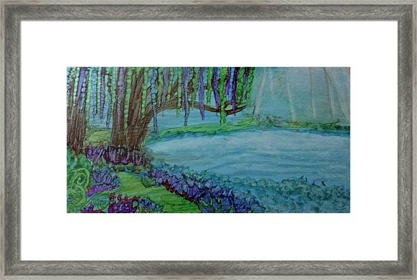 Willows By The Pond Framed Print