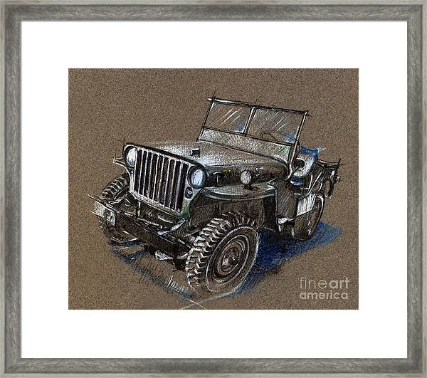 Willys Car Drawing Framed Print