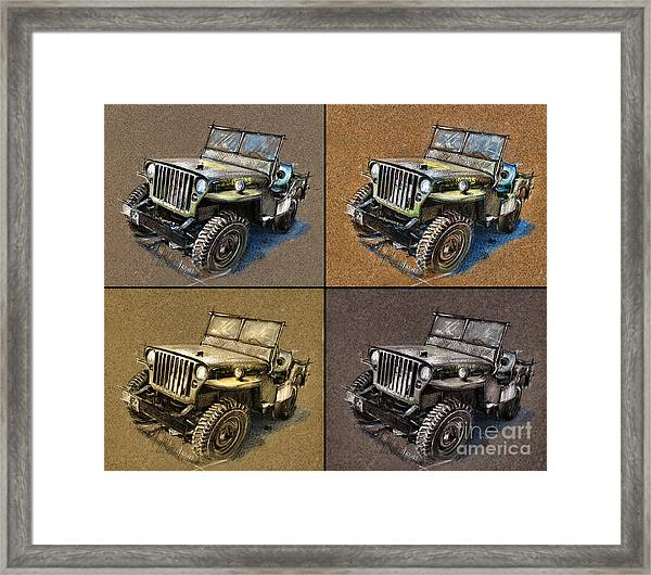 Willys Jeep Mb Car Drawing Framed Print