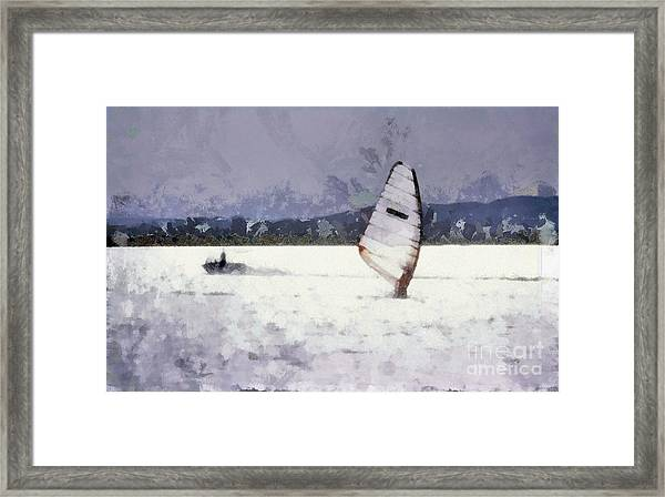 Wind Surfers On The Lake Framed Print