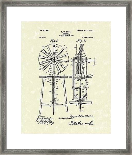Windmill 1899 Patent Art Framed Print by Prior Art Design