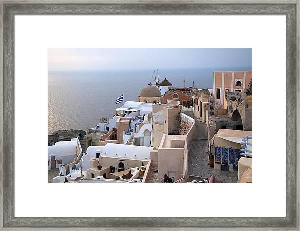 Windmill In Oia Santorini Framed Print