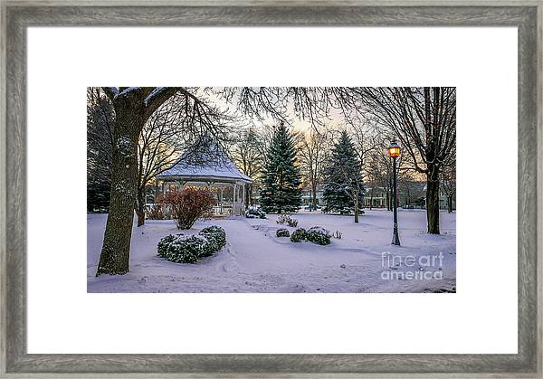 Framed Print featuring the photograph Windom Gazebo With Lamp by Kari Yearous