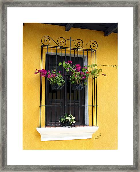 Window At Old Antigua Guatemala Framed Print