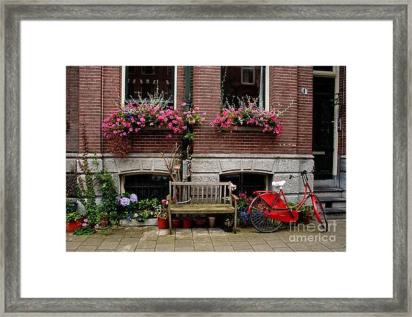 Window Box Bicycle And Bench  -- Amsterdam Framed Print