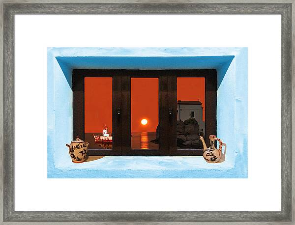 Framed Print featuring the photograph Window Into Greece 4 by Eric Kempson