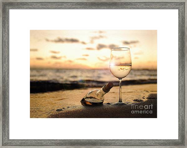 Wine And Sunset Framed Print