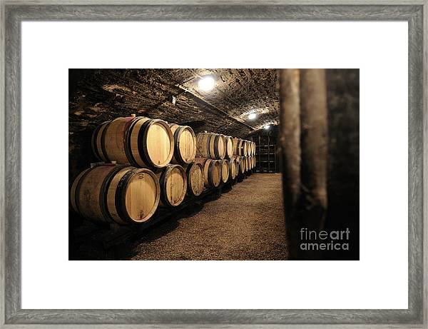Wine Barrels In A Cellar. Cote D'or. Burgundy. France. Europe Framed Print