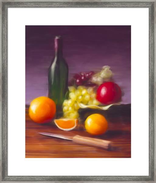 Wine Bottle And Fruit Framed Print