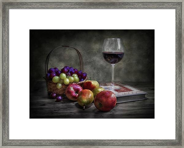 Wine, Fruit And Reading. Framed Print by Fran Osuna