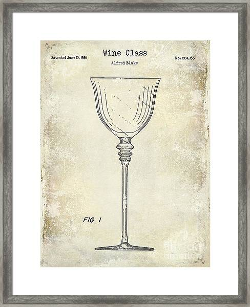 Wine Glass Patent Drawing Framed Print