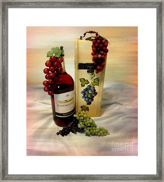 Wine To Be Enjoyed Framed Print by Carol Grenier
