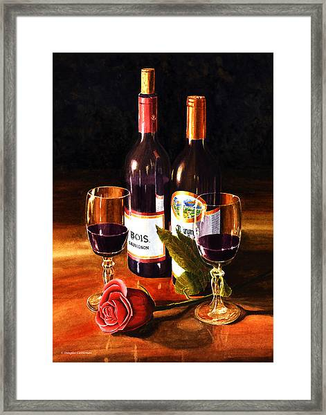 Wine With Rose Framed Print