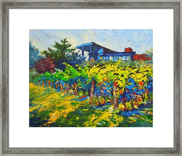 Winery Painting With Oils On Black Canvas Framed Print