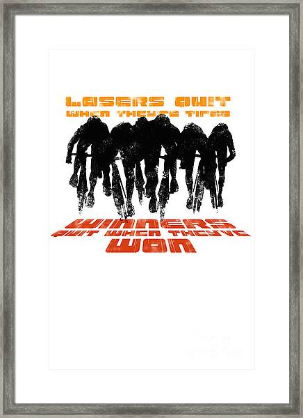 Winners And Losers Cycling Motivational Poster Framed Print
