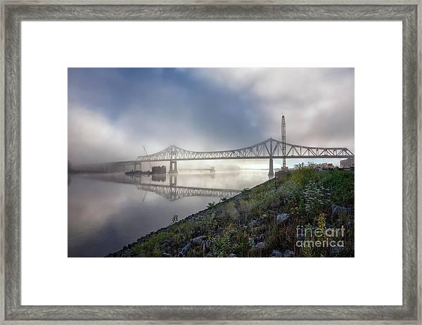 Winona Bridge With Fog Framed Print