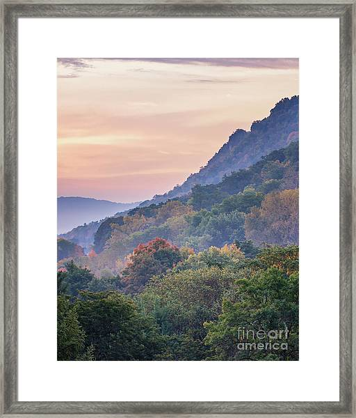 Framed Print featuring the photograph Winona Fall Colors Slopes II by Kari Yearous